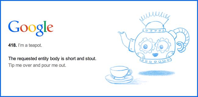 Huevo de pascual de Google con el error 418